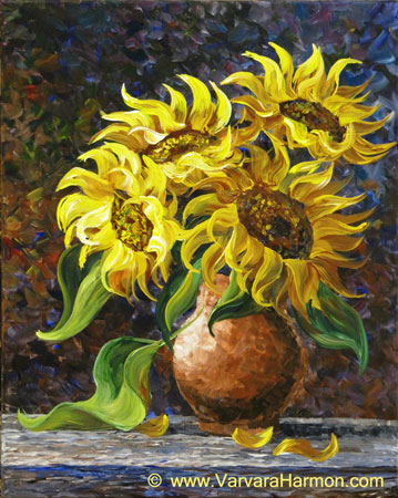 Sunflowers original acrylic painting by varvara harmon for How to paint sunflowers in acrylic