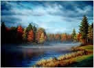 Autumn Morning on Ossipee River, Acrylic on canvas