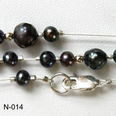 Fresh water black pearls necklace