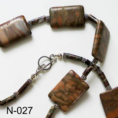 Sterling Silver & African Jasper Necklace