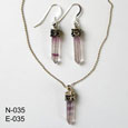 Sterling Silver Amethyst crystals necklace and earrings