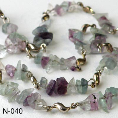 Sterling Silver Fluorite crystals necklace and earrings