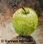 Green Apple - Pallet Knife, acrylic painting