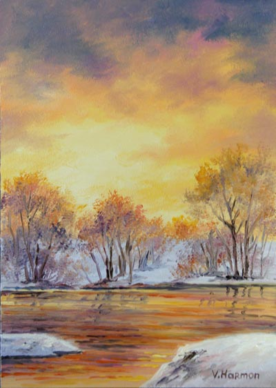 Winter Gold Sunset, Oil painting