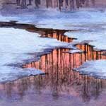 Dawn Reflection, watercolor painting