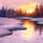Evening Reflection, watercolor painting
