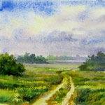 Field Road, watercolor