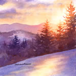 Mountain Sunset, watercolor painting