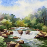 Rushing Water, watercolor painting