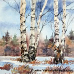 Spring Birch - Mini, watercolor painting