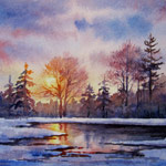 Spring Thaw, watercolor painting