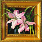 Lilies Duet, Original oil painting  on canvas