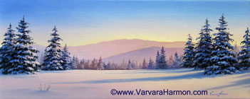 Snow Meadow, oil on canvas painting by Varvara Harmon