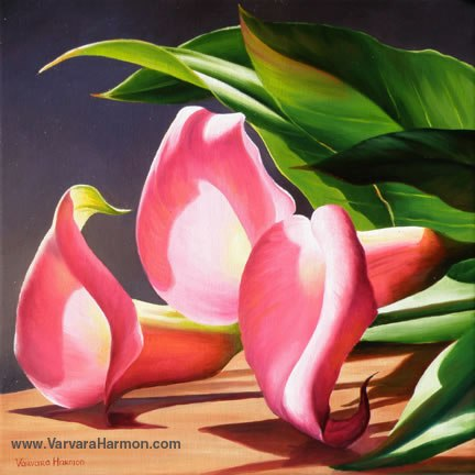 Pink Calla Lilies, Oil painting