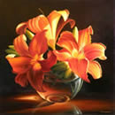 Three Lilies, Oil painting on canvas